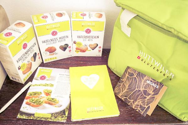 Huttwiler glutenfree Tasche mit Produkten
